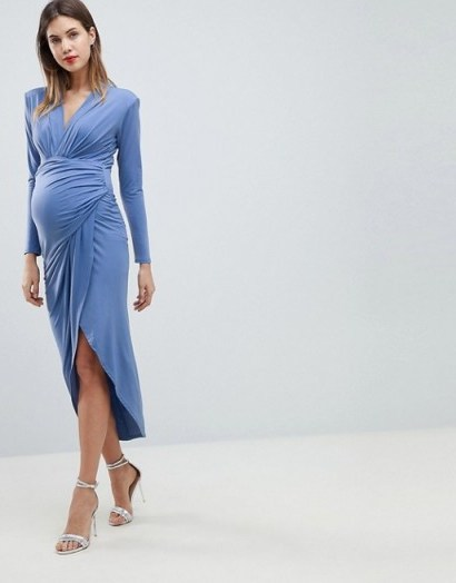 Queen Bee Wrap Front Maxi Dress in Airforce Blue ~ ruched pregnancy dresses ~ occasion wear - flipped