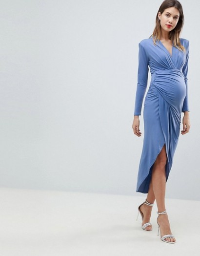 Queen Bee Wrap Front Maxi Dress in Airforce Blue ~ ruched pregnancy dresses ~ occasion wear