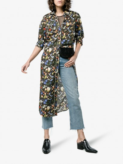 R13 Floral Print Cowboy Maxi Dress ~ flower printed shirt dresses