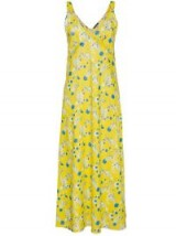 R13 sleeveless floral print long slip dress | long yellow cami dresses