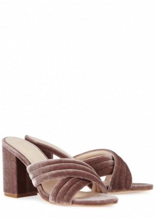 RAYE Bella mauve velvet mules – cross front slip-on