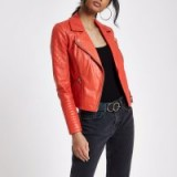 River Island Red leather biker jacket
