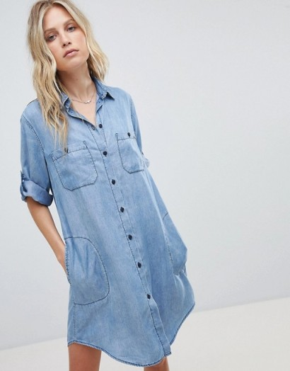 Replay Washed Denim Shirt Dress | curved hem dresses