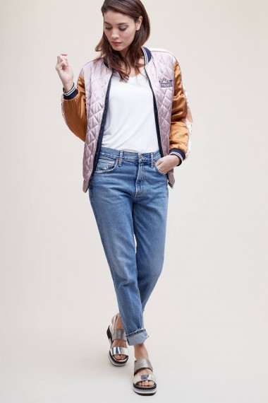 Maison Scotch Reversible Embroidered Bomber Jacket | quilted colour-block jackets