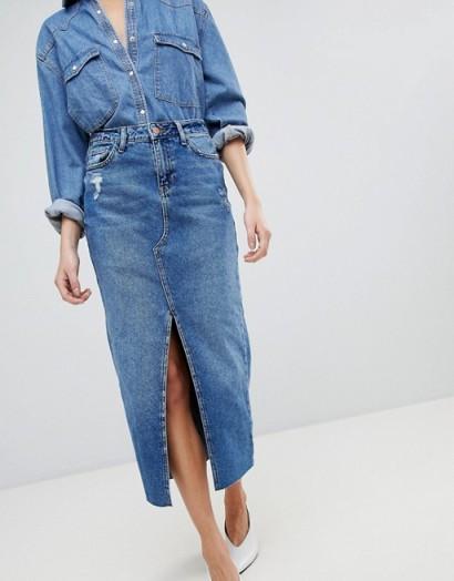 River Island Split Front Denim Midi Skirt | slit skirts