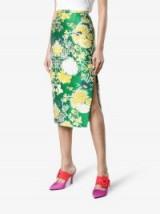 Rochas Jacquard Lurex Pencil Skirt / green floral skirts