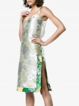 Rochas Metallic Jacquard Dress ~ silver floral dresses