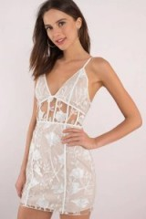 TOBI ROSE WHITE EMBROIDERED BODYCON DRESS ~ sheer party dresses