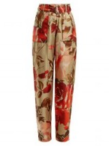 BY. BONNIE YOUNG Rose-print high-rise silk trousers ~ beige and red floral printed pants