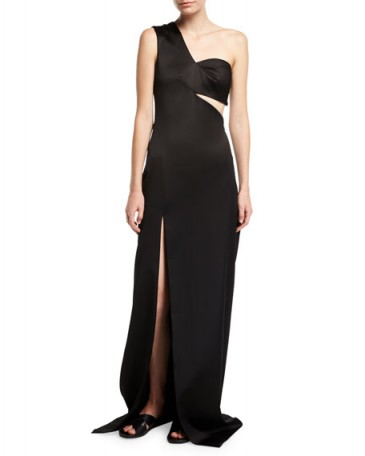 Rosetta Getty One-Shoulder Satin Column Gown / black special event cut-out gowns / evening elegance