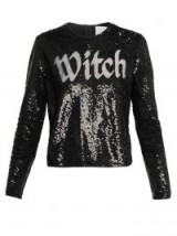 ASHISH Round-neck sequin-embellished witch slogan top