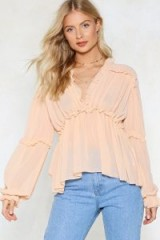 NASTY GAL Ruffle Riders Blouse. NUDE FRILL TRIM BLOUSES
