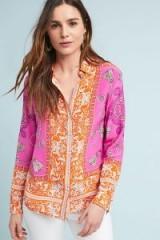 Maeve Runa Pink Printed Silk Shirt