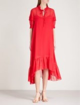 SANDRO Frilled collar chiffon midi dress – red frill trimmed dresses
