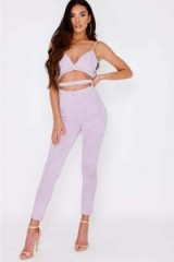 SARAH ASHCROFT LILAC FAUX SUEDE CUT OUT JUMPSUIT ~ fitted strappy jumpsuits