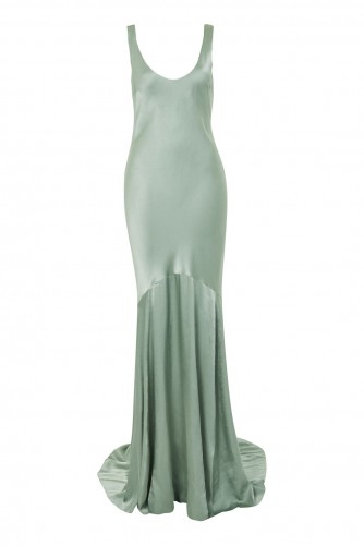 topshop Satin Fishtail Gown Dress – sage-green vintage style glamour