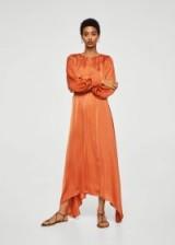 MANGO Satin gown | orange silky luxe style maxi dresses