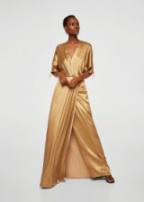 MANGO Gold Satin Gown | long luxe dresses