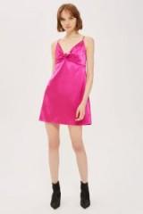 Topshop Pink Satin Knot Front Slip Dress | cami dresses