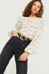 TOPSHOP Scallop Lace Blouson Top – spring blouses