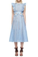 $318.00 SELF PORTRAIT EMBROIDERED CUTOUT MIDI DRESS