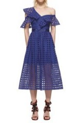 $318.00 SELF PORTRAIT GUIPURE FRILL DRESS COBALT