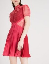 SELF-PORTRAIT Red Berry Panelled Lace floral-guipure mini dress ~ pleated party dresses