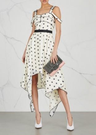 ec78cfc22d6f SELF-PORTRAIT White star-print satin dress ~ handkerchief hemline dresses