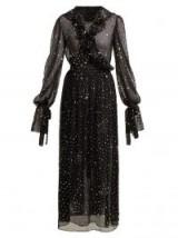 ASHISH Sequin-embellished sheer-chiffon wrap dress – sparkly black dresses