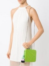 SERPUI lime-green straw clutch. SQUARE BAGS
