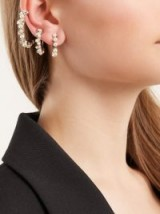 SAINT LAURENT Set of three faux-pearl embellished hoop earrings ~ chic style statement
