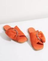 JIGSAW SETE BUCKLED SLIDERS / chic orange slides / spring flats