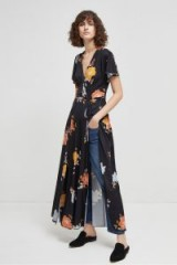 French Connection SHIKOKU SPACED JERSEY MAXI DRESS / long black floral dresses