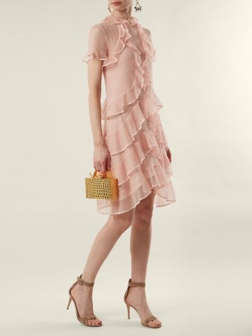 ALEXANDER MCQUEEN Light-Pink Short-sleeve lace-knit ruffle mini dress - flipped