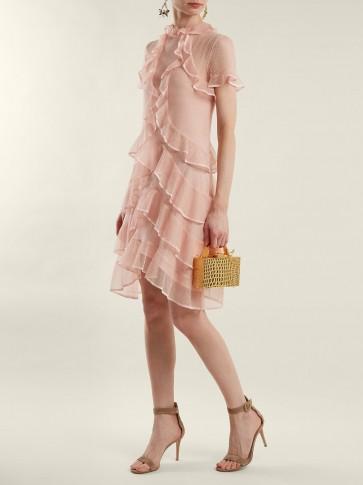 ALEXANDER MCQUEEN Light-Pink Short-sleeve lace-knit ruffle mini dress