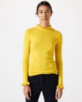 JIGSAW SILK COTTON FRILL NECK JUMPER in PRIMROSE / yellow ruffle trim jumpers / spring knitwear