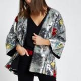 River Island Silver floral sequin embellished kimono ~ metallic jackets
