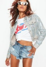 Missguided silver sequin trucker jacket – glam jackets