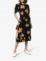 Simone Rocha Black and Orange Floral Print Scallop Trimmed Silk Dress ~ flower prints