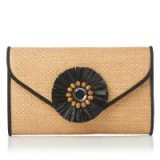 L.K. BENNETT SISSI BROWN CLUTCH ~ embellished woven bags