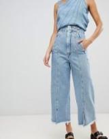 Sportmax Code Denim Wide Leg Jeans – seamed with slit hems
