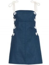 STAUD Blue Raft dress with lace up sides | navy sun dresses