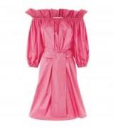 Stella McCartney Pink Off-The-Shoulder Poplin Dress ~ tie front bardot dresses