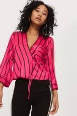Topshop Stripe Kimono Wrap Blouse | pink striped blouses