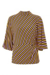 Topshop Striped Tuck Waist Blouse | stripy high neck blouses