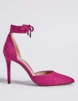 M&S COLLECTION Pink Suede Stiletto Heel Ankle Tie Court Shoes