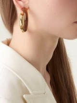 LIZZIE FORTUNATO Summer of Love hoop earrings ~ large gold & brown-acrylic hoops