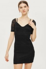 TOPSHOP Sweetheart Neck Lace Mini Bodycon Dress – fitted black party dresses – lbd