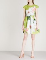 TED BAKER Chatsworth skater crepe dress – green floral party dresses