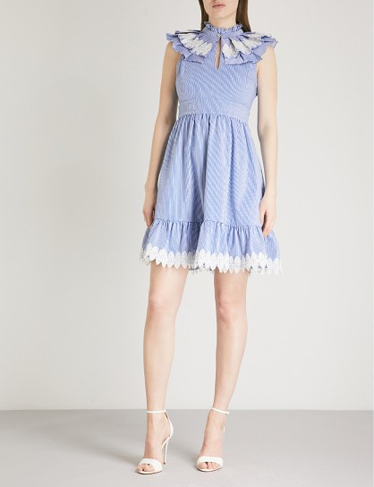 TED BAKER Kikkii ruffled pinstriped cotton dress – lace applique trimmed dresses